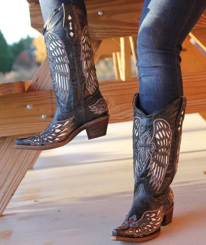 Corral Boots Wing and Cross Black and Bone A1018