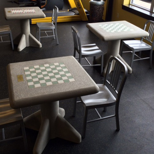 ... Concrete Freestanding Chess Table And Stool Set ...
