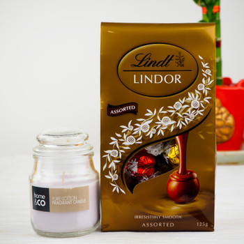 Candle with 100gm Lindt chocolates - FOR AUSTRALIA