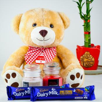 Soft Teddy bear, Candles with Dairy Milk chocolates - FOR AUSTRALIA