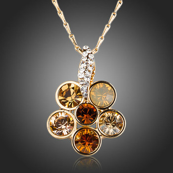 18K Real Gold Plated With 6pcs Round Stellux Austrian Crystals Flower Pendant Necklace