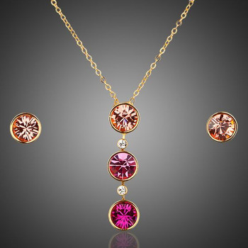 18K Real Gold Plated Round Stellux Austrian Crystal Hoop Earring and Pendant Necklace Set