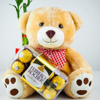 Soft Teddy bear with Ferrero Rocher Chocolates - FOR AUSTRALIA
