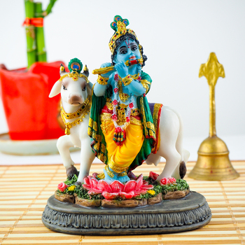 Krishanjee with cow statue 5inch - FOR AUSTRALIA