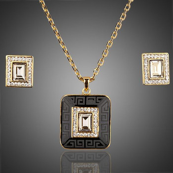 18K Real Gold Plated Rectangle SWA ELEMENTS Crystal Hoop Earrings and Pendant Necklace Sets