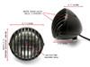 "4 1/2"" 12V 35W Matt Black Alloy Retro Vintage Grill Headlight Motorcycle Motorbike"