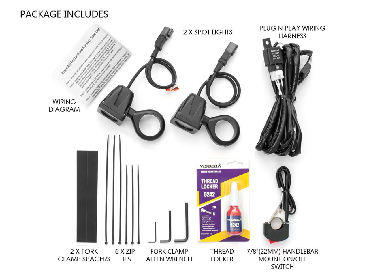 10W LED Motorbike Spotlight Kit with Wiring Harness, Switch, Fork ...