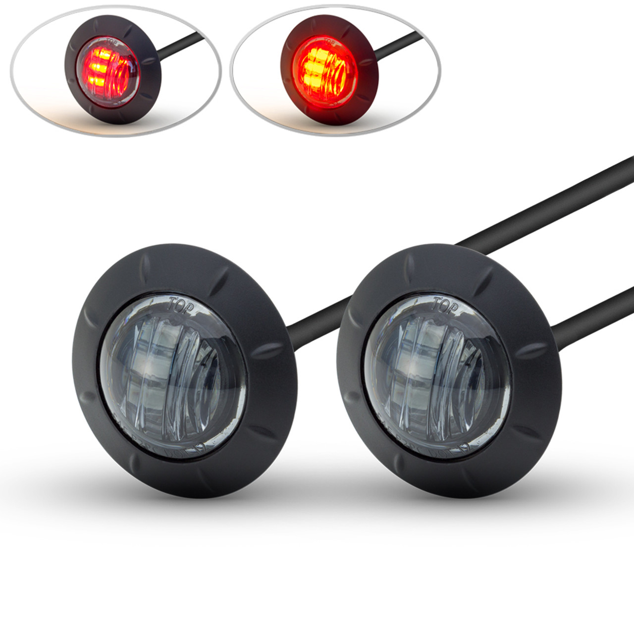 Pair Of 2 50mm Cafe Racer Flush Mount Led Stop Tail Lights With Light Wiring Diagram Smoked