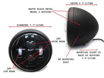 "Motorbike Motorcycle LED 7.5"" Headlight for Custom Project Retro Cafe Racer Bike"