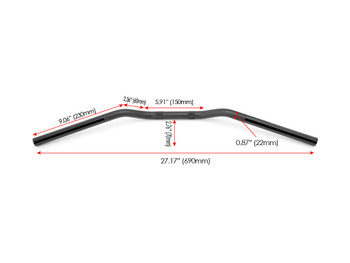 "Motorbike Drag Handlebars- 22mm (7/8"") for Cafe Racers, Scramblers, Brat Bikes & Streetfighters - Black Alloy"