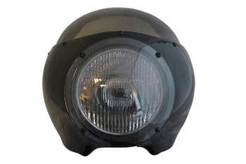 "BLACK Cafe Racer Fairing Cowl with Smoked Windshield and 6 3/4"" Black Headlight"