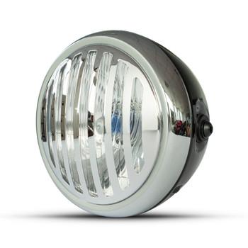 "Motorbike Headlight 6.5"" Black with Chrome Prison Grill Retro Scrambler Project"