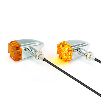 Maltese Cross LED Indicators - CHROME - for Custom Bikes & Retro Cafe Racer Motorbikes