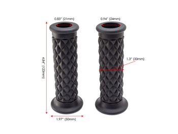 "Black Diamond Motorbike Hand Grips 22mm (7/8"") for Scrambler Brat Bike Cafe Racer"