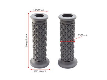 "Grey Diamond Motorbike Hand Grips 22mm (7/8"") for Scrambler Brat Bike Cafe Racer"