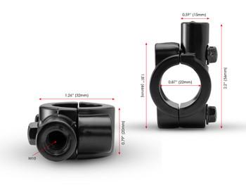 Motorbike Trike Mirror Mounts Clamps for 22mm Handlebars M10 Clockwise Thread - PAIR