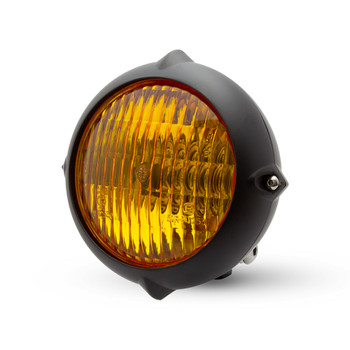"5.5"" Headlight for Retro Custom Project - Matt Black with Yellow Lens"