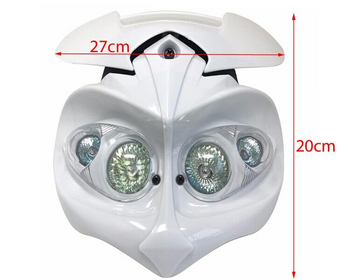 Motorbike Headlight & Brackets for Streetfighter Custom Project Bike - WHITE