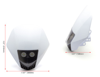 WHITE Motorbike Headlight Mask - LED 12V 10W - Project Streetfighter Supermoto