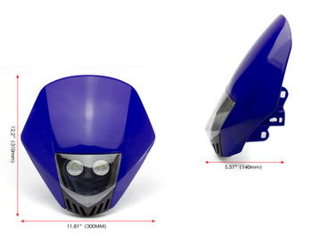 BLUE Motorbike Headlight Mask - LED 12V 10W - Project Streetfighter Supermoto