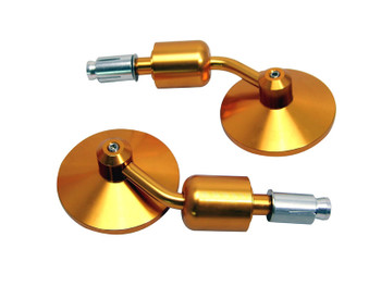 Pair of High Quality Motorcycle Motorbike Trike CNC Machined Gold Aluminium Round Bar End Mirrors