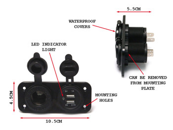 Universal Fairing Bodywork Mount Twin Power Socket For Motorcycles & Scooters With 12V & USB Fittings
