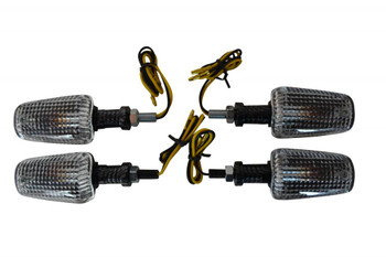 2 x Pairs of Universal Carbon Fibre Look 21W Halogen Indicators For Motorbikes Motorcycles Trikes Quads