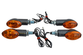 2 x Pairs of 21W Universal Carbon Look E-marked Motorbike Motorcycle Indicators
