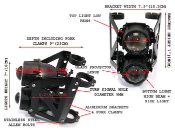 Dual Stacked Streetfighter Projector E-marked Black Motorcycle Motorbike Headlight Set Forks (size options available)