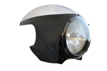 "BLACK Cafe Racer Fairing Cowl with Clear Windshield and 6 3/4"" Chrome Headlight"