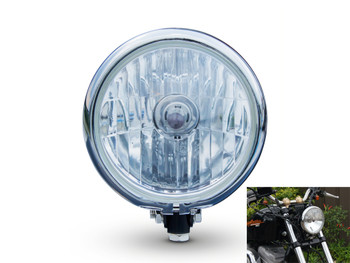 "5.75"" 12V 55W Bates Style Black & Chrome Custom Cafe Racer Motorbike Headlight"