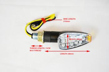 Universal Short Stem Black Tiny LED Orange Tip E-marked Indicators for Motorcycle Motorbike Trike Quad Scooter