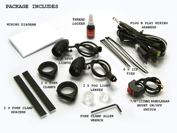 BLACK Aluminium Bullet Spot Fog Lights with Complete Wiring Kit & 50-51mm Fork Clamps
