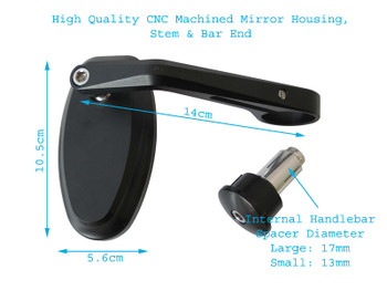 High Quality Billet Aluminium Yamaha Cafe Racer & Streetfighter Motorbike Bar End Mirrors with M10 Blanking Plugs