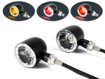 Black with Polished Bezel CNC Billet Ally Integrated LED Motorbike Stop Tail Lights & Indicators