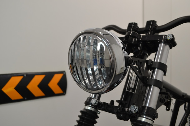 "6"" Motorbike Chrome Headlight with Prison Grill - Retro Scrambler Brat Bike"