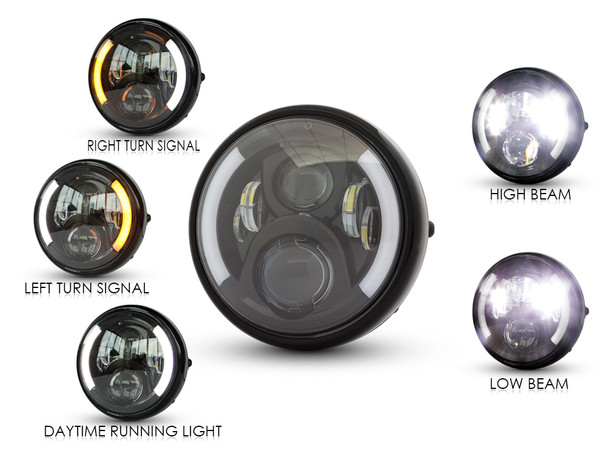 """7.7"""" Motorbike LED Headlight with Integrated DRL & Indicators - High Quality"""