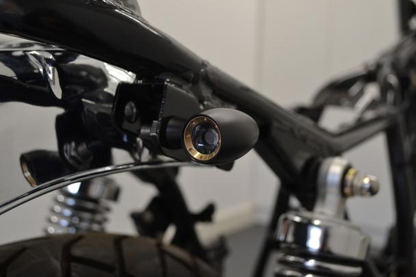 2 PAIRS of Motorbike Mini LED Indicators with Gold Bezel - Custom Bikes & Retro Cafe Racers