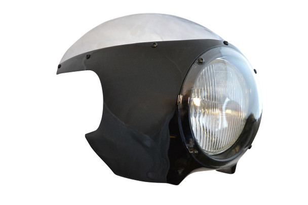 """BLACK Cafe Racer Fairing Cowl with Clear Windshield and 6 3/4"""" Chrome Headlight"""