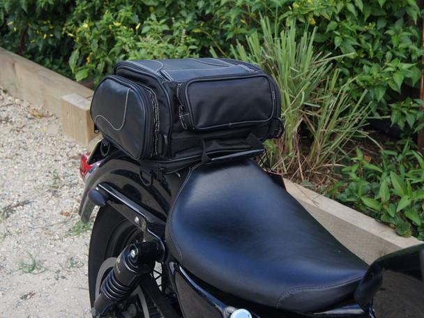 12 Litre Fake Leather Harley Davidson & Cruiser Motorbike Expandable Custom Tail Bag