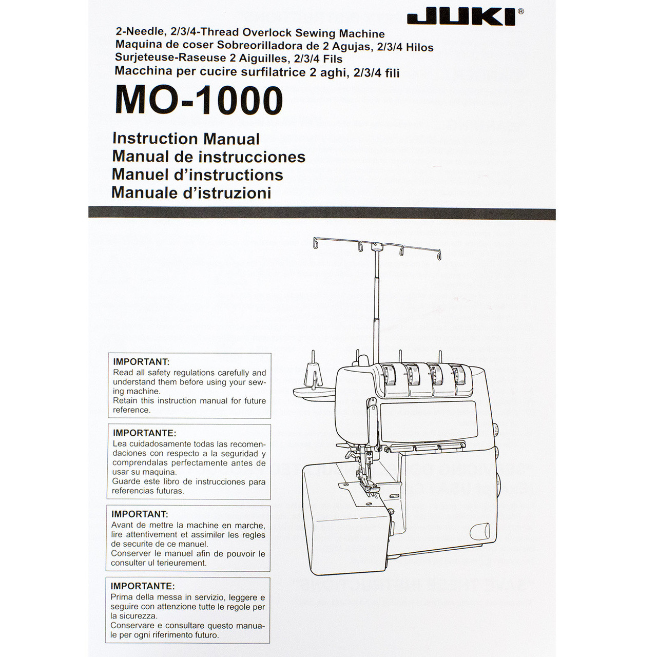 Juki Mo 1000 Serger With Jet Air Threading Technology 129900 Free Brother Diagrams
