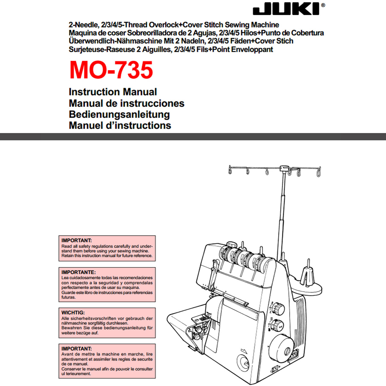 Juki Mo 735 5 Thread Coverstitch Serger 95900 Free Shipping Brother Threading Diagrams