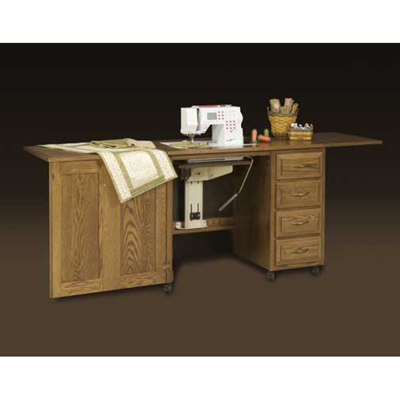 ... Schrocks Of Walnut Creek Sewing Machine Cabinet In Real Oak Wood And  Your Choice Of Stain ...