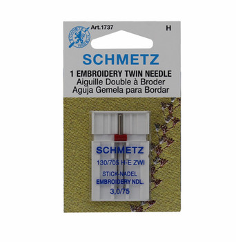 Schmetz Embroidery Twin Needle - Size 3.0/75