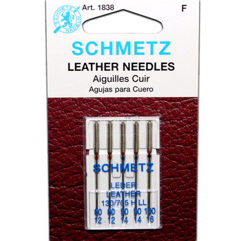 Schmetz Leather Needles - Assorted Sizes (2 - 80/12, 2 - 90/14, 1 - 100/16)