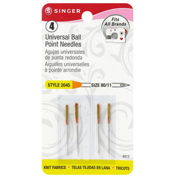 Singer Universal Ball Point 11/80 4/Pkg Sewing Machine Needles