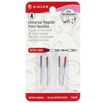 Singer Universal Regular Point 16/100 4/Pkg Sewing Machine Needles