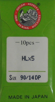 Organ HL X 5 Needles for Juki TL2000QI, TL2010Q, TL98 Series , Janome 1600P and Janome 1600P-QC  Machines Size 90/14