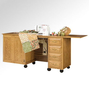 Schrocks of Walnut Creek Sewing Machine Cabinet in Real Cherry Wood and Your Choice of Stain Open
