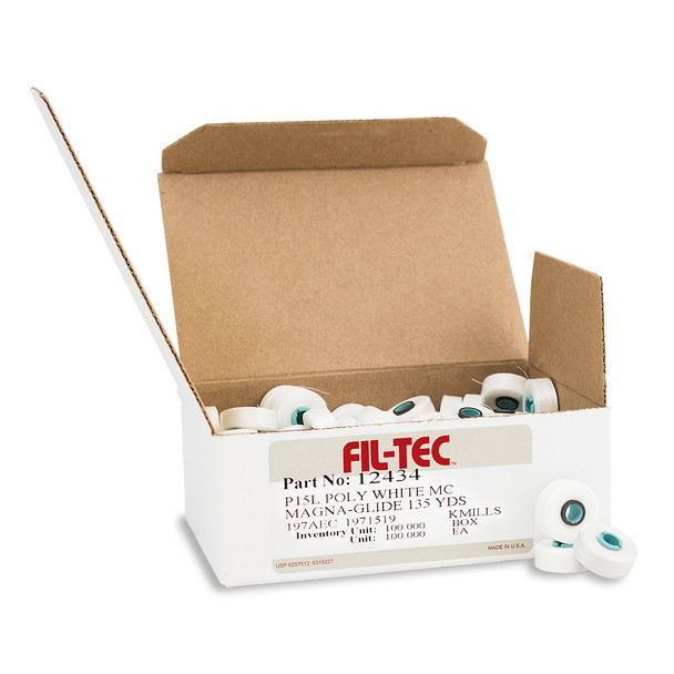 Brother Fil-Tec PRWB135 Magnetic Core Prewound L Bobbins 100x60wt Poly Thread in White